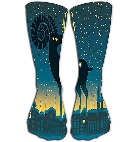 NGMADOIAN vrouwen kniekousen nieuw Compressiekousen 50 cm raam teken sterrenhemel nacht stad