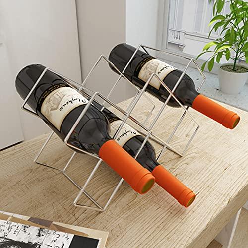 YANFEI Enkel metallvinställ ingen montering krävs vinflaskhållare, modern design vardagsrum skåp kök kylskåp vinhållare – metallplätering 38 x 15 x 25 cm