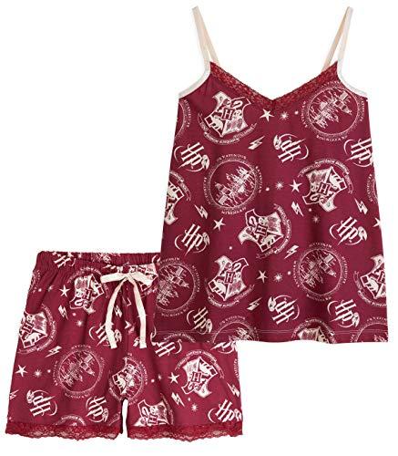 HARRY POTTER Pijamas Mujer, Conjunto 2 Piezas Camiseta Tirantes y Shorts, Pijama Mujer Algodon 100%, Merchandising Oficial Regalos para Mujer y Adolescentes (Granate, L)