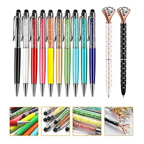 2-in-1 Kristall-Kugelschreiber, 10 Stück und 2 Stück großer Diamant-Stift, Metall-Kugelschreiber, modisch, für Mädchen, glitzernd, Diamant-Stifte für Bürobedarf (12 Stifte)… (12PCS)