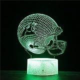 Lampe illusion 3D LED casque de rugby veilleuse 16 couleurs changeantes automatique interrupteur tactile lampe de décoration de bureau cadeau d'anniversaire