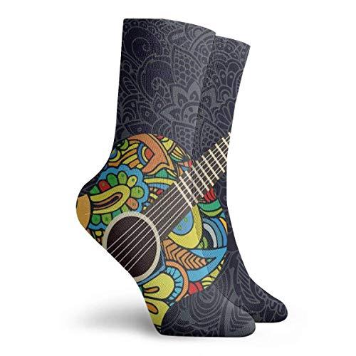 Hangdachang Gitarren Crew Socke Damen und Herren Bedruckte Sport Athletic Socken Weihnachten 30 cm