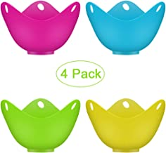 4 Pcs Egg Poacher Cups, Poaching Cups, Silicone Poaching Pods,Egg Cooker Set,Perfect Poached Egg Maker BPA Free For Microwave or Stovetop Egg Cooking