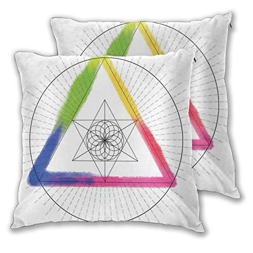 DECISAIYA Funda de Cojín Suave,Rainbow Star Triángulo y patrón de círculos entrelazados Diseño de símbolo Oculto,Funda de Almohada Cuadrado para Sofá Cama Decoración para Hogar 60x60cm,Set de 2