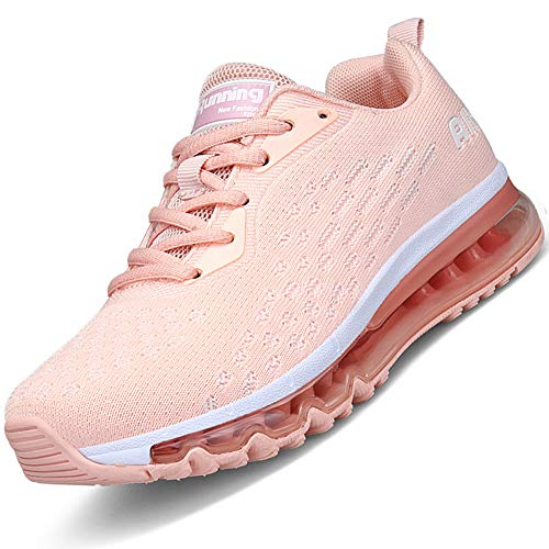 Mabove Laufschuhe Damen Turnschuhe Sportschuhe Straßenlaufschuhe Sneaker Atmungsaktiv Trainer für Running Fitness Gym Outdoor(Pink/HK78,41 EU)