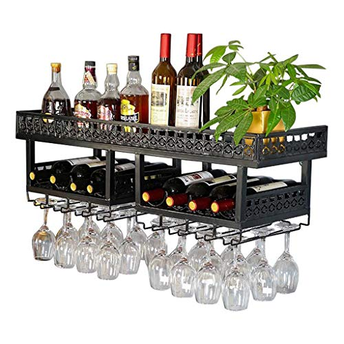 2- Tiers Loft Wall-Mounted Wine Holder, Wine Bottle Rack Stemware Wine Glass Rack,Metal Iron Décor Storage Bar Display Application Rack,Dining Room,Kitchen,Black