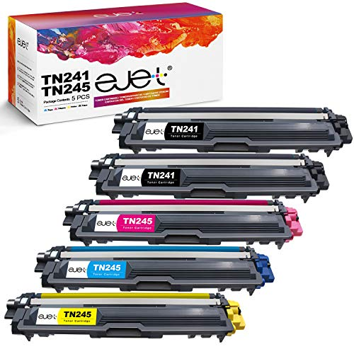 ejet 5er Pack TN241 TN245 Kompatibel Toner Ersatz für Brother TN-241 TN-245 TN-242 TN-246 für Brother MFC-9332CDW DCP-9022CDW HL-3142CW MFC-9142CDN HL-3152CDW MFC-9140CDN DCP-9017CDW HL-3140CW Drucker