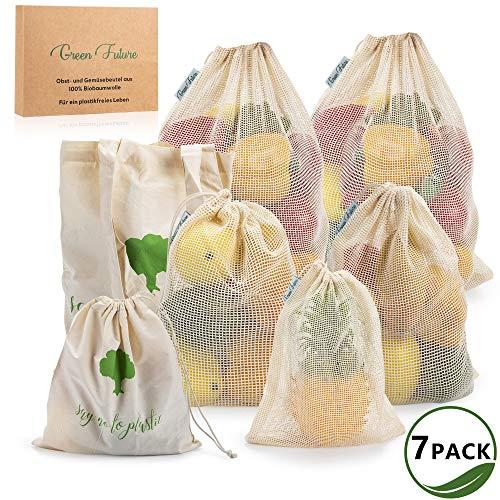 Green Future Wiederverwendbare Obst & Gemüsebeutel, 100% Bio-Baumwolle - 7er Set inkl. Jutebeutel - Zero Waste, Nachhaltig & plastikfrei - Für Einkauf, Lagerung von Obst, Gemüse, Brot