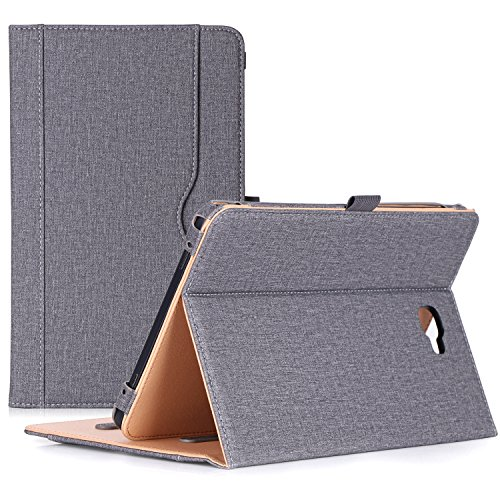 ProCase Galaxy Tab A 10.1 Case 2016 Old Model, Stand Folio Case Cover for Galaxy Tab A 10.1 Tablet SM-T580 T585 T587 (NO S Pen Version) with Multiple Viewing Angles, Card Pocket -Grey
