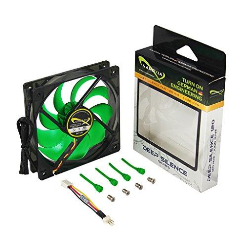 Nanoxia 200300270 Deep Silence 120 - 1300 Lüfter, 120mm x 120mm x 25mm, 1.300 U/min, 14,2 dBA, 102,1 m³/h, Nanoxia Gummislicks, 3-Pin Molex Anschluss, 7-Volt Adapterkabel