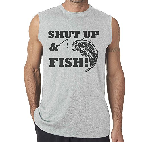 Cool SHUT UP & FISH Mens Sleeveless Vest/Underwaist/Sleeveless Garment/Tank Top