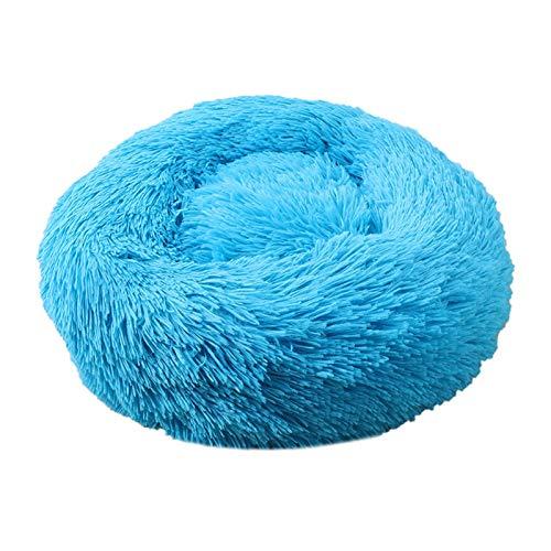 KEHUITONG PSWK Cesta de Mascotas de Peluche Suave Invierno Cuerpo cálido Camas Nido Bolsa de Dormir Sofá de cojín para Perros pequeños Grandes. (Color : Blue, Size : S 50cm)
