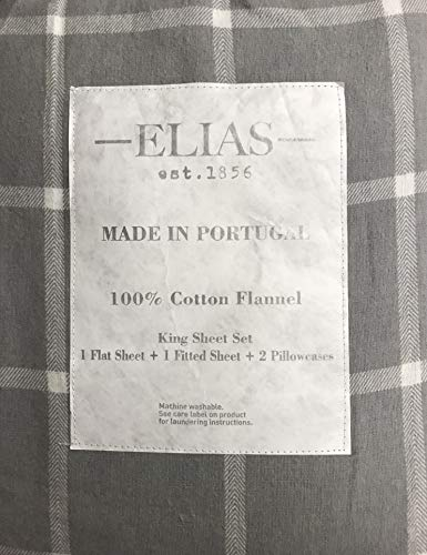 ELIAS Luxury Flannel 4 Piece Sheet Set - 100% Cotton Flannel Made in Portugal - Grey or Grey and White Plaid: Super Soft and Warm, Breathable (King, Grey/White Plaid)