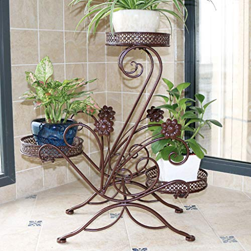 3-Tiered Scroll Plant Stand Indoor Outdoor Hoek plank, Metalen Plant Pot Stand Rack Klassieke Bloem Display Plank Houder Met Modern Design Boekenplank (3 Kleuren)
