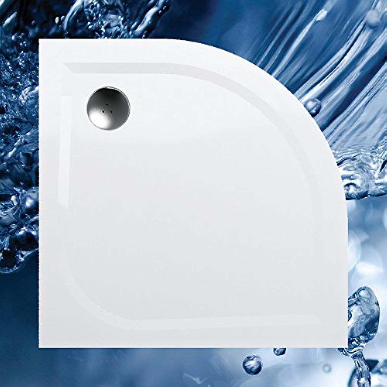 Duschwanne 80x80 Viertelkreis R 55 Mineralguss - Mineralgussbecken 80x80 x3 cm, Weiss
