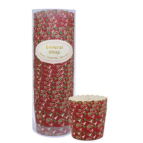 Beiersi Caissettes à Cupcakes Moule en Papier Imperméable aux Graisses pour Muffins Gâteau Tasses à Pâtisserie Moules de Cuisson en Papier Décoration Noël Mariage Fête Lot de 24 (Rouge)
