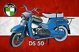 Schatzmix Motorrad Oldtimer Puch DS 50 Metallschild 20x30 Deko tin Sign Blechschild, Blech,...