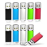 TOPESEL 10 Pack 16GB USB 2.0 Flash Drives Memory Stick Thumb Drive (5 Mixed Colors: Black Blue Green Red Silver)