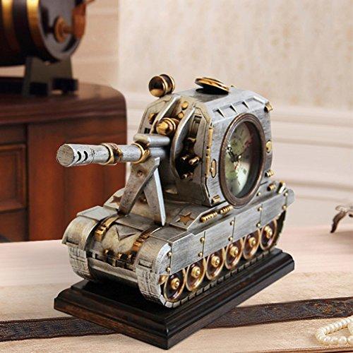 Qivor Antiguo Reloj Reloj Sala de Estar TV Contador Reloj Personalidad Creativa Reloj de Cuarzo Forma del Tanque Decoración Decoración Moda