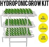 Knoijijuo Kit Cultivo Hidropónico, Sistemas Hidropónicos De Cultivo Vehículo Vertical con El Tubo De PVC, 12 Tubos De 3 Capas 108 Sitios De Plantas