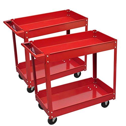 Chariot servante d'atelier charge 100 kg rouge (lot de 2) et Taille des pneus : Ø 9,5 cm