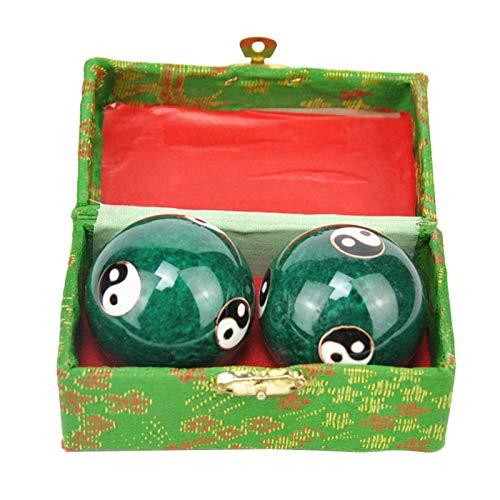 POHOVE 2 bolas de Baoding, bolas chinas de la salud, bolas de meditación, ejercicios de Baoding, terapia de relajación, alivio del estrés, ejercicios de mano Yin Yang, ejercicio diario de los músculos