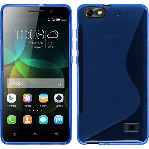 PhoneNatic Case kompatibel mit Huawei Honor 4c - blau Silikon Hülle S-Style + 2 Schutzfolien