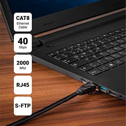 SEBSON 2X LAN Kabel 50cm CAT 8 rund, Netzwerkabel 40 Gbit/s 2000MHz, RJ45 Stecker für Router, PC, TV, NAS, Spielekonsolen - Ethernetkabel S-FTP PiMF abgeschirmt