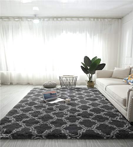 alfombras Salon Grandes - Pelo Largo Alfombra habitación Dormitorio Lavables Comedor Moderna vivero (Gris con Estampado marroquí, 120 x 160 cm)