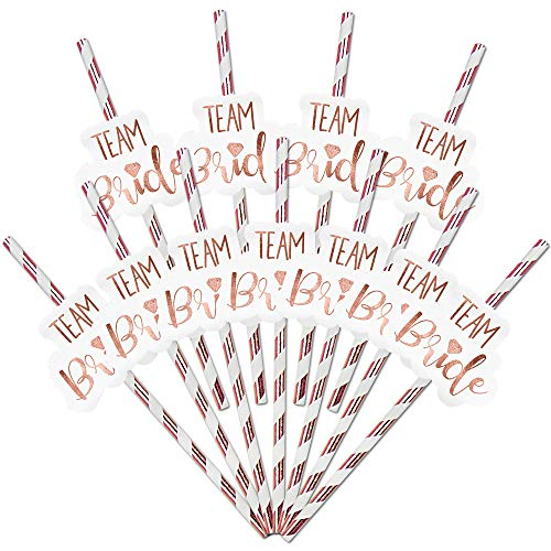 24pk Team Bride Drinking Straws | Rose Gold Straw | Team Bride Straw | Hen Party Straws | Bridal Shower Paper Straws | Safe and Durable | Includes Hen Party Theme Ideas and Games Ebook