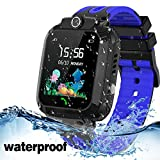 Kids Smart Watch Waterproof with GPS Tracker Phone Smartwatch SOS Game Voice Chat 1.44'' Touch Screen for Boys Girls Birthday Gift (Blue)