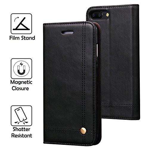 REAL-EAGLE OnePlus 5 hülle, Stand Hülle Etui with Karte Halterung Leder Wallet Klapphülle Flip Book Case TPU Cover für OnePlus 5 2017 Smartphone. (Black)