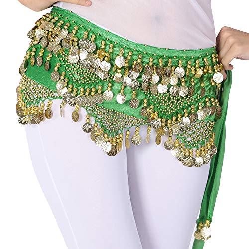 Mengmiao Donna Gonna Belt Danza Del Ventre Paillettes Coniare Practice Spettacolo Cintura Verde1 One Size