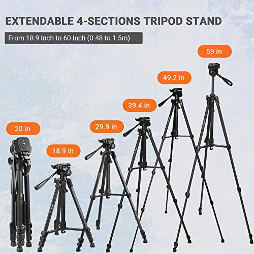 Dreibeinstativ, TACKLIFE 150cm Tripod für Kamera, Maximale Tragkraft: 5kg, 360° Schwenkbar, Mit Bluetooth-Fernbedienung, Stativ für Handy/Kamera, 1/4'' Schraubhalterung, Tasche - MLT02