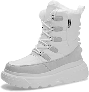 Men's Large Size Snow Boots, Outdoor Waterproof Full Fur Lined Anti-Slip Warm Boots Lace-Up Shoes for Men