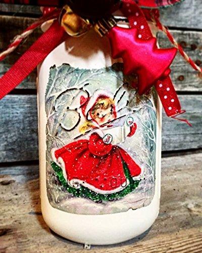 Animer and price revision Vintage inspired Time sale christmas jar mason caroler