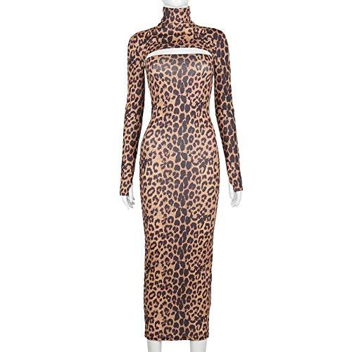 Leopardo Mujer Manga Larga Camisa Corta Tubo Midi Vestido Bodycon Ropa de Calle Sexy Party Club L Leopardo