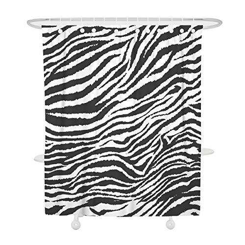 Fansu Duschvorhang Wasserdicht Anti-Schimmel Anti-Bakteriell 3D Leoparde Muster mit 12 C-Form Kunststoff Haken für Badzimmer, 100prozent Polyester Bad Vorhang mit Ringe (90x180cm,Zebra)