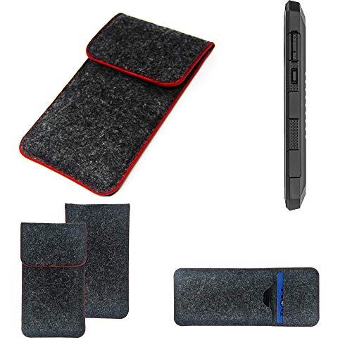 K-S-Trade Handy Schutz Hülle Für Cyrus CS 24 Schutzhülle Handyhülle Filztasche Pouch Tasche Hülle Sleeve Filzhülle Dunkelgrau Roter Rand