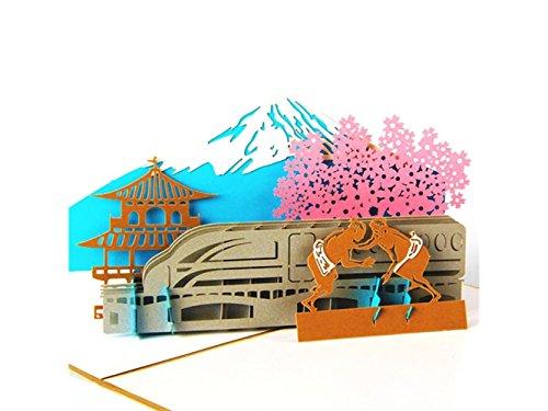 3D Pop Up Grußkarte handgemachte Karte Japan Mount Fuji Design Karte Geschenkkarte (Gold) Kunst