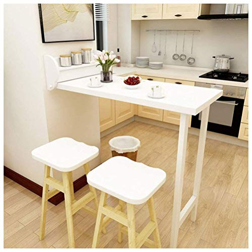 JCX Wall Mounted Table Fold Out Folding Solid Wood Table Hidden Wall Desk Convertible Desk, Fold Down Desk For Bedroom, Study Room, Balcony, Kitchen (Color : White Size :42.5×20.3in)