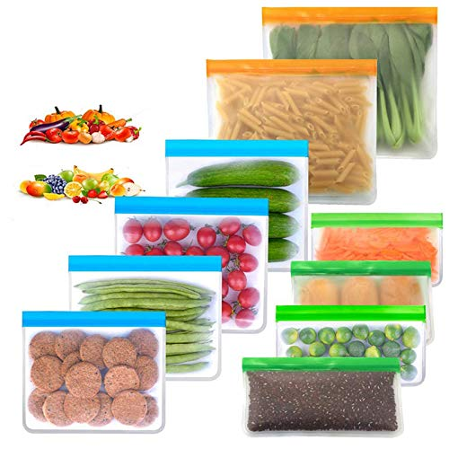 Reusable Storage Bags 10 Pack Resuable Freezer Bags Reusable Gallon BagsReusable Sandwich Bags Reusable Snack Bags colorful 10 Pack-2 Large 4 Sandwich 4 Snack