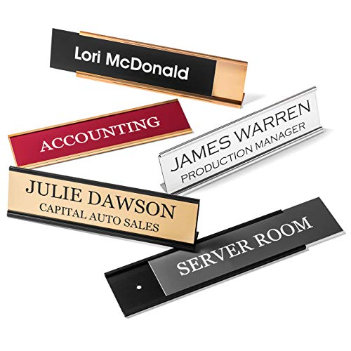 "Providence Engraving Personalized Desk Name Plates - Custom Office Wall or Desk Name Plates with Aluminum Holder with Two Lines of Laser Engraved Text, 2"" x 8"""