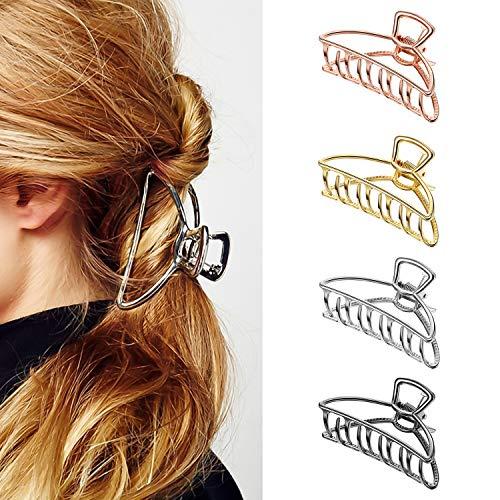 4 Stücke Haarklemmen,Haarspangen Haarklammer Haargreifer Metall Damen Grob Gold Schwarz,Klaue Clips Metall Krallen Clips Hohle,Haarschmuck Damen für Mädchen Frauen Haarspange zum Fixieren Des Haares