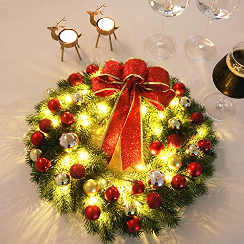 Hanizi Christmas Wreath with 40 Led Lights Battery Operated Christmas Party Decorations 16 Inches