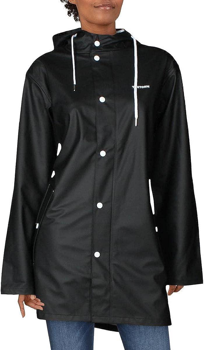 TRETORN Men's Women's Waterproof Rain Jacket Outdoor Hooded Windbreaker Raincoat (Black-Wings, L)