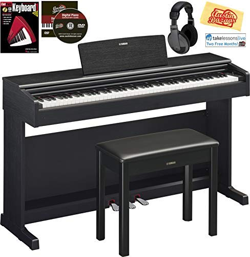 Yamaha Arius YDP-144 Console Digital Piano Bundle with Furniture Bench, Headphones, Instructional Book, Online Lessons, Austin Bazaar Instructional DVD, and Polishing Cloth - Black