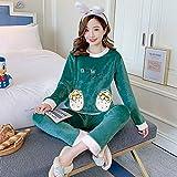 Conjunto De Pijamas Para Mujeres,Invierno Grueso Caliente Franela Pijama Ropa De Dormir Manga Larga Cuello Redondo Jersey Dulce Encantador Verde Fresa Verde Coral Terciopelo Homewear Pijamas Set,Xl