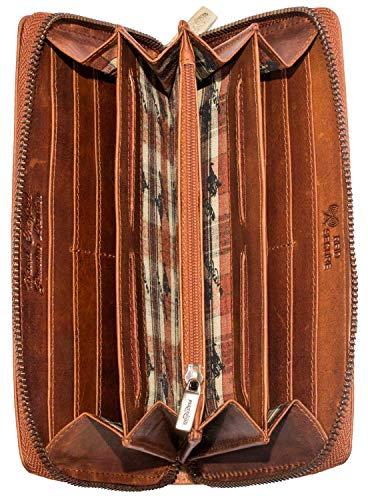Matador Damen-Geldbeutel Echt Leder Langbörse viele kartenfäecher RFID/NFC Schutz Portemonnaie mit hochwertigem Reißverschluss Inkl Geschenkbox Organizer Handyfach (Braun)