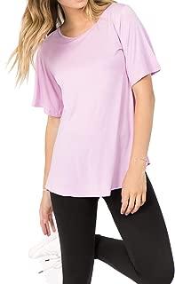 ICONOFLASH Women's Short Flutter Sleeve Tops Crew Neck Summer Shirts with Round Hem